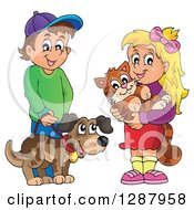 Clipart Of A Happy Caucasian Boy And Girl With Their Pet Dog And Cat Royalty Free Vector Illustration