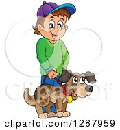 Clipart Of A Happy Brunette Caucasian Boy Walking His Pet Dog Royalty Free Vector Illustration
