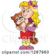 Clipart Of A Happy Blond Caucasian Girl Holding Her Pet Cat Royalty Free Vector Illustration by visekart