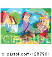 Clipart Of A Happy Caucasian Boy And Girl With Their Pet Dog And Cat In A Park Royalty Free Vector Illustration