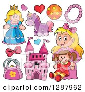 Clipart Of A Blond Girl And Fantasy Toys Royalty Free Vector Illustration by visekart