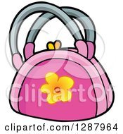 Clipart Of A Pink Purse With A Yellow Flower Royalty Free Vector Illustration