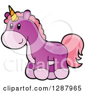Clipart Of A Purple Unicorn Girls Toy Royalty Free Vector Illustration by visekart