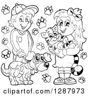 Clipart Of A Black And White Happy Boy And Girl With Their Pet Dog And Cat With Paw Prints Royalty Free Vector Illustration