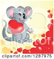 Clipart Of A Cute Gray Mouse With Valentine Hearts Over Yellow Royalty Free Vector Illustration
