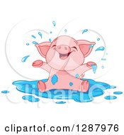 Cute Animal Clipart Of A Cute Baby Piglet Playing In A Puddle Of Water Royalty Free Vector Illustration by Pushkin