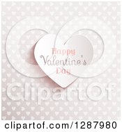 Clipart Of A 3d Happy Valentines Day Text Heart Over A Pattern Royalty Free Vector Illustration