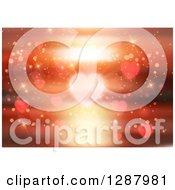 Clipart Of A Background Of A Blurred Heart And Ocean Sunset With Flares Royalty Free Vector Illustration