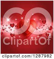 Clipart Of A Red Valentines Day Background Of Hearts And Flares Over A Pattern Royalty Free Vector Illustration by KJ Pargeter
