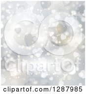 Clipart Of A Background Of Flares And Valentine Heart Bokeh Royalty Free Vector Illustration