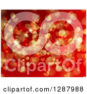 Background Of Red And Gold Flares And Valentine Heart Bokeh