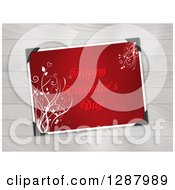Clipart Of A Red Happy Valentines Day Greeting With Floral Vines Over Wood Royalty Free Vector Illustration
