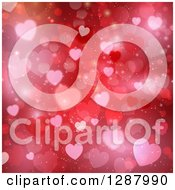 Clipart Of A Valentines Day Background Of Red Flares And Heart Bokeh Royalty Free Vector Illustration by KJ Pargeter