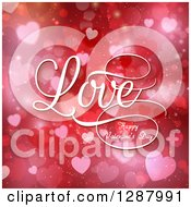 Clipart Of White Love Happy Valentines Day Text Over Red And Pink Bokeh Hearts Royalty Free Vector Illustration