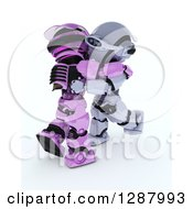 Clipart Of 3d Pink And Silver Robots Hugging Or Ballroom Dancing Royalty Free Illustration