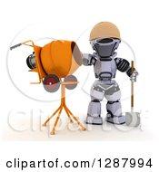 3d Robot Construction Worker Standing By A Cement Mixer
