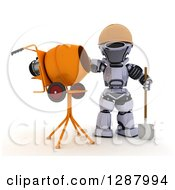 Clipart Of A 3d Robot Construction Worker Standing By A Cement Mixer Royalty Free Illustration