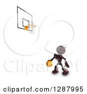 Clipart Of A 3d Red Android Robot Dribbling A Basketball Under A Hoop Royalty Free Illustration by KJ Pargeter