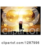 Clipart Of A Silhouetted Couple Kissing In Against A Golden Heart Tropical Sunset Royalty Free Vector Illustration
