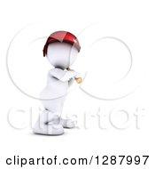 Clipart Of A 3d White Man Baseball Player Batting Royalty Free Illustration