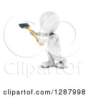 Clipart Of A 3d White Man Working With An Axe 2 Royalty Free Illustration