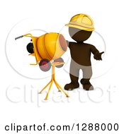 Clipart Of A 3d Brown Construction Worker Man Standing By A Cement Mixer Royalty Free Illustration