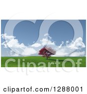 Clipart Of A 3d Red Maple Tree In A Green Hilly Landscape With Blue Sky And Clouds Royalty Free Illustration by KJ Pargeter