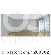 Clipart Of A 3d Empty White Room Interior With Floor To Ceiling Windows And Wood Flooring Royalty Free Illustration