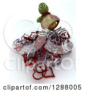 Clipart Of A 3d Tortoise With A Pile Of Metal Hearts Royalty Free Illustration