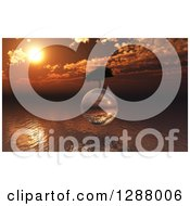 Clipart Of A 3d Tree Floating On A Glass Globe Over An Ocean Sunset Royalty Free Illustration by KJ Pargeter