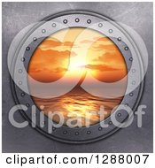 Clipart Of A 3d Metal Porthole With A View Of An Orange Ocean Sunset Royalty Free Illustration by KJ Pargeter