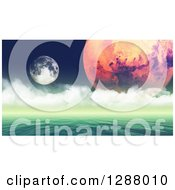 3d Calm Foreign Ocean With Planets