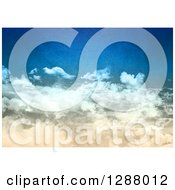 Clipart Of A Distressed Textured Blue Sky With Clouds Royalty Free Illustration
