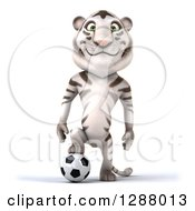 Clipart Of A 3d White Tiger Resting A Foot On A Soccer Ball Royalty Free Illustration