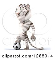 Clipart Of A 3d White Tiger Facing Left And Resting A Foot On A Soccer Ball Royalty Free Illustration
