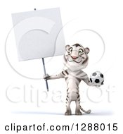 Clipart Of A 3d White Tiger Holding A Blank Sign And A Soccer Ball Royalty Free Illustration