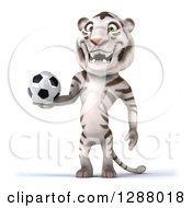 Clipart Of A 3d White Tiger Holding A Soccer Ball Royalty Free Illustration