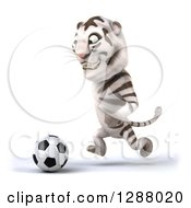 Clipart Of A 3d White Tiger Facing Left And Playing Soccer Royalty Free Illustration