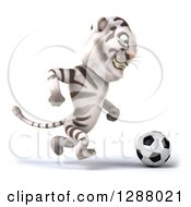 Clipart Of A 3d White Tiger Facing Right And Playing Soccer Royalty Free Illustration