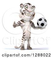 Clipart Of A 3d White Tiger Holding A Thumb Up And A Soccer Ball Royalty Free Illustration