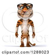 Clipart Of A 3d Bespectacled Tiger Royalty Free Illustration