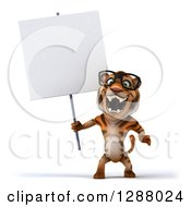 Clipart Of A 3d Bespectacled Tiger Roaring And Holding A Blank Sign Royalty Free Illustration