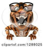 Clipart Of A 3d Bespectacled Tiger Roaring Over A Sign Royalty Free Illustration