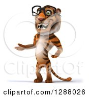 Clipart Of A 3d Bespectacled Tiger Presenting To The Left Royalty Free Illustration