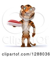 Clipart Of A 3d Tiger Holding A Beef Steak Royalty Free Illustration