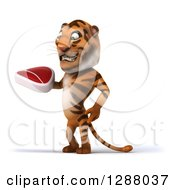 Clipart Of A 3d Tiger Facing Left And Holding A Beef Steak Royalty Free Illustration