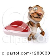 Clipart Of A 3d Tiger Holding Up A Beef Steak Royalty Free Illustration