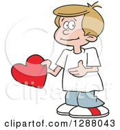 Holiday Clipart Of A Sweet Caucasian Boy Holding A Valentine Heart Royalty Free Vector Illustration by Johnny Sajem