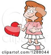 Holiday Clipart Of A Sweet Caucasian Girl Holding A Valentine Heart Royalty Free Vector Illustration by Johnny Sajem