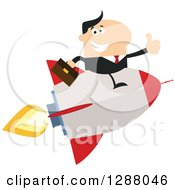 Clipart Of A Modern Flat Design Of A White Businessman Holding A Thumb Up And Flying On A Rocket Royalty Free Vector Illustration